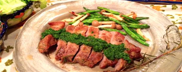 お肉には葉物。<br>パセリのジェノベーゼ